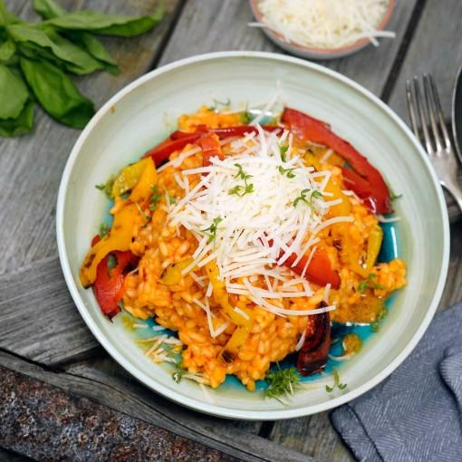 Paprika-Risotto  mit gegrilltem Paprika