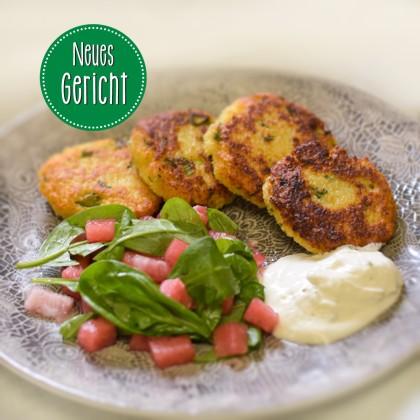 Knusprige Couscous-Datscherl mit Melonensalat