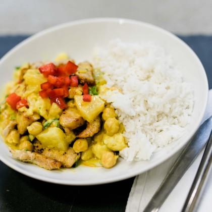 Curry süß-sauer mit Bio-Putenfleisch