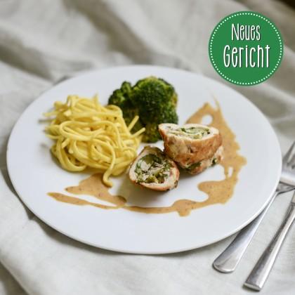 Hähnchen-Roulade mit Spätzle und Brokkoligemüse (gefüllt mit Schinken und Spinat)