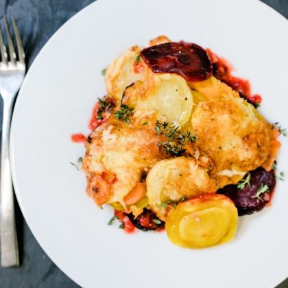 Winterliches Gemüse-Gratin (Kürbis - Rote Beete - Sellerie - Kartoffel - Karotte)