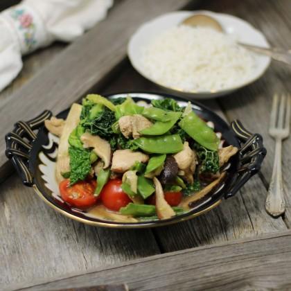 """Hühnchen mit Gemüse """"Ginza"""" und Basmatireis"""
