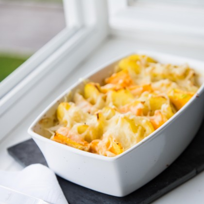 Kartoffel-Blumenkohlgratin mit Kürbis