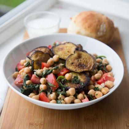 Kichererbsen-Spinat Salat