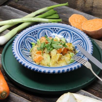 Süßkartoffel-Gemüse-Gratin