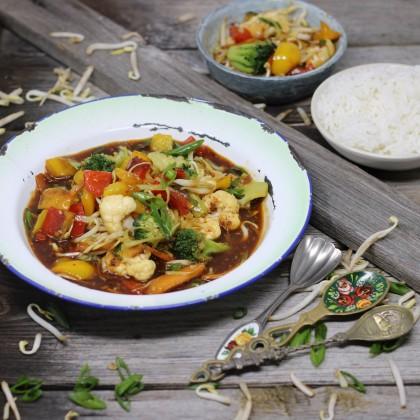 Wok-Gemüse mit Basmatireis