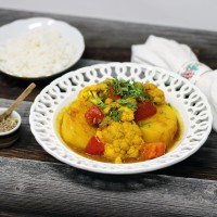 Aloo Gobi - Indisches Kartoffel-Blumenkohl Curry mit Basmatireis