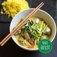 Fleischbällchen (Bio-Rind) Thai-Style mit Gemüse und Kurkuma-Reis